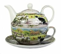 Collie and Sheep Fine China Afternoon Tea For One Set Teapot Cup Saucer NEW