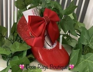 💖 Spanish Red Genuine Leather Maryjane Glitter Bow Shoes 💖 SMALL FITTING❣️
