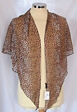 """Leopard Print Brown and Black with Gold Glitter Scarf 49x49x66"""" O1"""