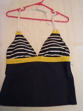 American Living Size 12 Swim Halter Swimsuit Top NWT Navy Yellow Defect