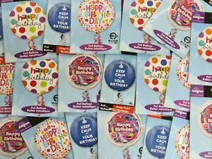"20 x 18"" Happy Birthday Foil Round Helium Party Balloon job lot 20 MIXED"
