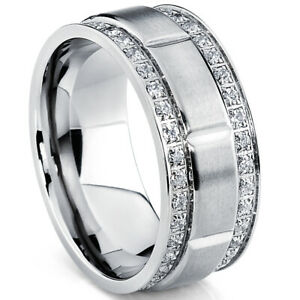 Men's Titanium Wedding Band Ring with Double Row Cubic Zirconia