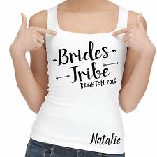Hen party vest tank top personalised wedding party gift 100% cotton bridesmaids