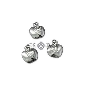 5 x Small Stainless Steel Apple Charms - 15mm x 12mm Silver Tone