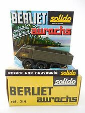Solido 214 Berliet Aurochs Amphibious Military Vehicle Olive Green in Box