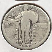 1927 S Standing Liberty Quarter 25c RARE Circulated #4526