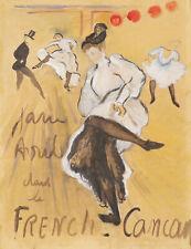 Henri TOULOUSE LAUTREC dessin aquarelle gouache affiche Jane AVRIL French Cancan