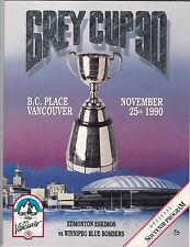 1990 GREY CUP PROGRAM,EDMONTON ESKIMOS-WINNIPEG BLUE BOMBERS,BC PLACE