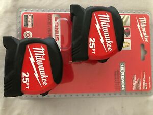 Milwaukee 25 ft Compact Wide Blade Tape Measure 2 Pack NEW