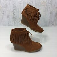 MINNETONKA Womens Size 8 Booties Fringe Wedge Lace Up Brown Suede Leather Boots