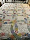 OMG Vintage Handmade Hand Quilted Double Wedding Ring Quilt 112x99 King #505