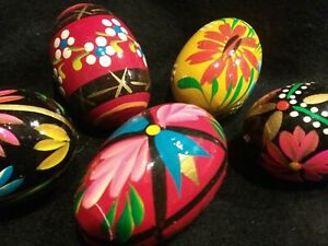 VTG FOLK ART HAND PAINTED WOODEN EASTER EGGS POLISH UKRANIAN RUSSIAN  LOT OF 5