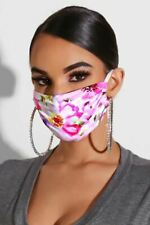 Cali Chic Fashion Face Mask Rose Hue Floral Print Breathable Washable Ships from
