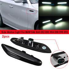 2x Side Marker White Indicator LED Lights For BMW E39 E46 E60 E82 E88 E90 E92