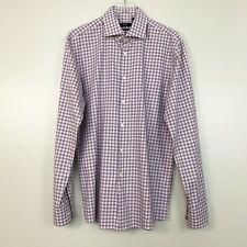 Hugo Boss Mens Shirt White Purple Plaid Button Sharp Fit Long Sleeve 17 36/37