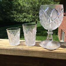 Pennsylvania Pattern Pressed Glass-Set Of 3- Non Flint