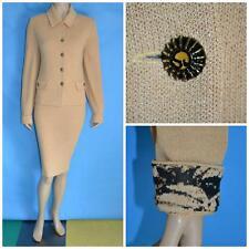 St John Collection Knit Tan Beige Jacket & Skirt M L 12 10 2pc Suit Animal Print