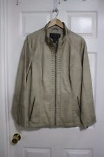 Mo-Ka Beige Long Sleeve Zip Front Faux Leather Lined Moto Jacket Sz 1X Plus VGUC