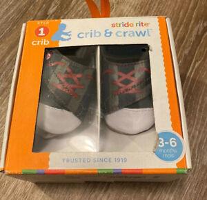 Stride Rite Crib & Crawl Shoes Navy Tiny Sports Star 3-6 mos New Open Box