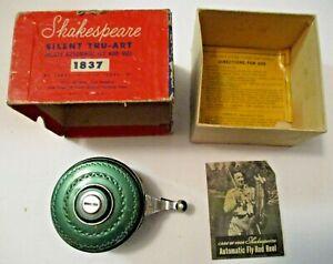VINTAGE SHAKESPEARE #1837 SILENT TRU-ART DELUXE AUTOMATIC FLY ROD REEL IN BOX