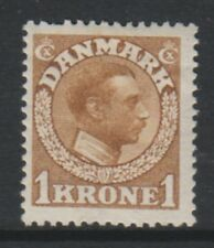 More details for denmark - 1913, 1k yellow-brown king christian x stamp - m/m - sg 166