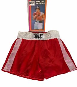 Vintage EVERLAST Satin Boxing Trunks Shorts Original Box Made In The USA
