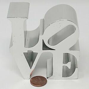 Vintage 1970s  Robert Indiana LOVE Sculpture Pop Art Polished Metal Paperweight