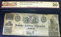 "1840""s $2 BANK  OF LOWER CANADA  - (QUEBEC ,LOWER CANADA)  scarce banknote"