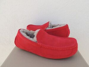 UGG ASCOT WIDE SAMBA RED SUEDE/ SHEEPWOOL SLIPPERS, US 10/ EUR 43 ~FIT SMALL NEW