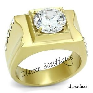 MEN'S ROUND CUT SIMULATED DIAMOND 14K GP STAINLESS STEEL RING SIZE 8-13