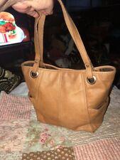 FOSSIL Tan Brown Leather Medium Tote Satchel Bag Handbag Purse (B)