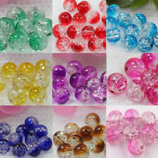 100PC 8mm  Mixed Crystal Crack Glass Round Loose Spacer Jewelry Beads Charm Flaw
