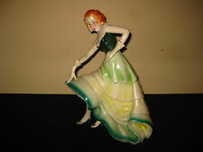 ANTIQUE PORTUGUESE ART DECO POTTERY PORCELAIN WOMEN DANCER FIGURE FIGURINE 1930s