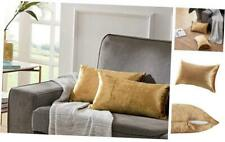 """Velvet Decorative Throw Pillow Covers for Sofa Bed 2 12 x 20""""- set of 2 Gold"""