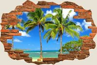 3D Hole in Wall Exotic Ocean Beach View Wall Stickers Art Decal Wallpaper S74