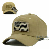 USA American Flag Hat Detachable Patch Tactical Military Baseball cap- Khaki