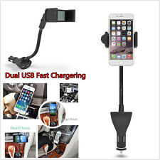 Dual USB 2.1A Cigarette Lighter Charger Car Cellphone Holder Mount For All Phone
