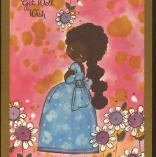 """Rare.! Black,Afro-American Negro Girl,Lovely Color,""""Get Well"""" Old Greeting Card"""