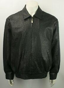 BERNINI Beverly Hills Ostrich Genuine Leather Black Bomber Jacket Size XL