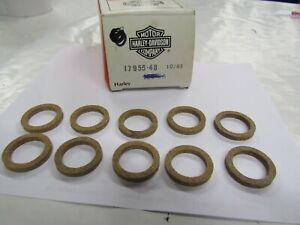 NOS 17955-48 (10 Pack) Harley Davidson Lower Push Rod Cover Cork Washers GENUINE