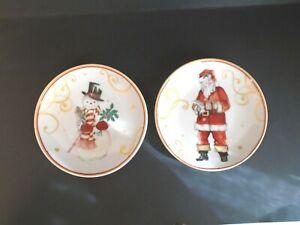 "Williams Sonoma Christmas Dipping Bowls 5 1/2"" New Santa and Snowman Set of 2"