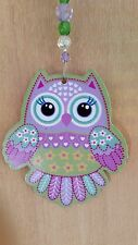 Owl & Crystal Suncatcher Car Charm Purple Green Hanging Mobile