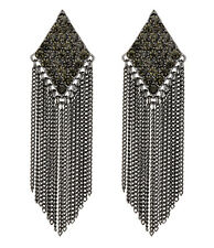 CLIP ON EARRINGS - gunmetal earring with crystals and chain fringe - Carys B
