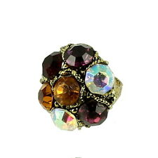 VINTAGE KNUCKLE BUSTER GIANT RHINESTONE RING ADJ 6.5-9.5 OUTRAGEOUS FUN