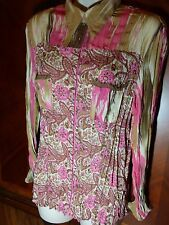 JAIPUR Ladies Sz Large Long Sleeve Double Pocket Snap Buttons Pink Brown Paisley