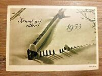 Historische Glückwunschkarte 1953, Neujahr Postkarte original 50er unbeschrieben