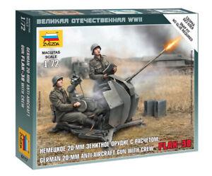 Zvezda 1/72 Figures - German 20mm FLAK-38 Anti Aircraft Gun with Crew Z6117