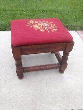 Antique Quartered Oak Footstool Needlepoint