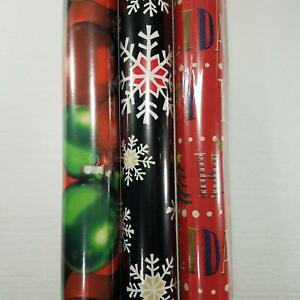 Wrapping Paper Roll 110 Sq Ft Christmas Ornament Black Snowflake Happy Holidays