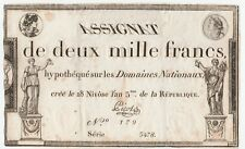 Revolution France assignat 2000 francs 1795 / French 1st Republic old note